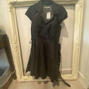 BLACK & WHITE POLKA DOT DRESS NWT COMES WITH BELT